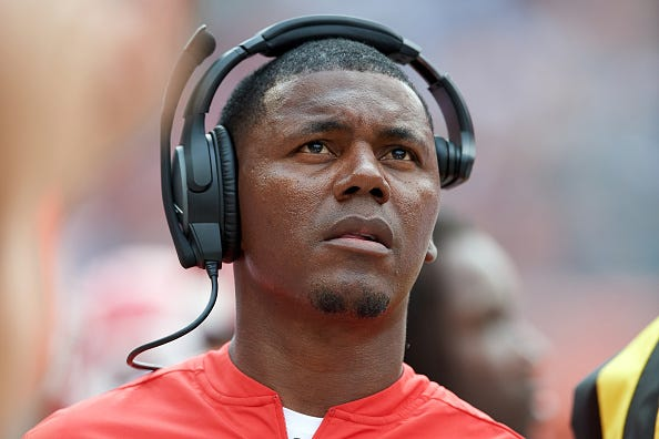 Kansas City Chiefs running backs coach Deland McCullough looks on wearing his Bose headset during game action in a preseason NFL game between the Kansas City Chiefs and the Chicago Bears on August 25, 2018 at Soldier Field in Chicago IL.