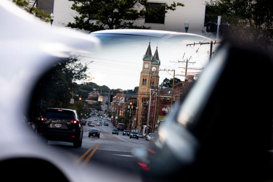 Traffic on Liberty Street in the Over-The-Rhine neighborhood of Cincinnati on Sept. 4.