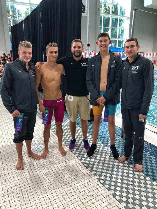 Somerset Valley YMCAMens 400 team all swam their personal best times in this event. (Left to right) Bucknell University freshman Carter Weiland of Bridgewater, UMBC freshman Ryan Bugianesi of Bridgewater, high school junior Nathan Borges of Piscataway and high school freshman Matt Fallon of Warren.