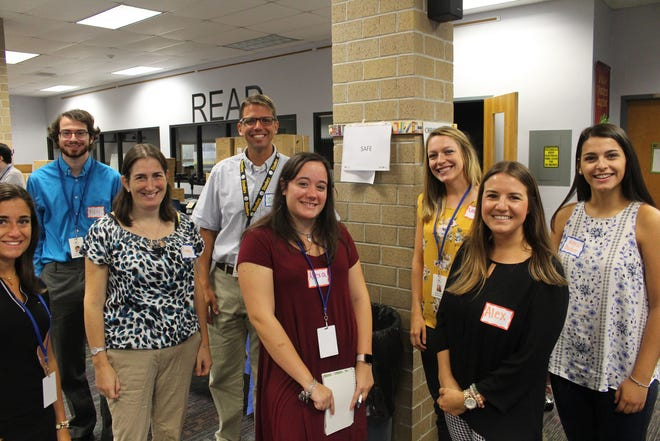 Left to right: Emily Boylan, Warren Middle School (WMS) Paraprofessional, Richard Bardy,  WMS Paraprofessional, Lindsay Shaw, WMS Special Education Teacher, Scott Cook, Mt. Horeb Principal, Alexa DiIorio, Central School Paraprofessional, Lauren Farrell, Central School Grade 5 Teacher, Alexandra Pranzo, Woodland School Guidance Counselor and Alexa Barber,  Woodland School Special Education Teacher participating in the Whole Child activity.