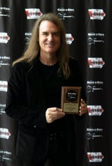 The Iowa Rock 'n' Roll Music Association inducted Megadeth Bassist David Ellefson, a Jackson, Minnesota native, into the Iowa Rock 'n' Roll Hall of Fame on Sept. 2, 2018 in Arnolds Park, Iowa.