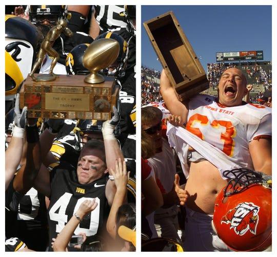 Iowa and Iowa State split the 20 Cy-Hawk football meetings between 1998-2017.
