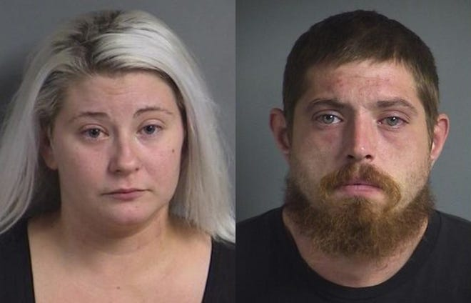Sara Rene Schrader, left, and Michael Patrick Shapcott, were arrested Monday, Sept. 3, 2018, in Iowa City after shots were fired into a building at the Iowa City Marketplace.