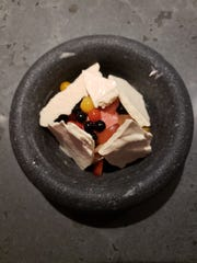 Tomato ambrosia with stone fruit and cinnamon meringue from Albena in Detroit.
