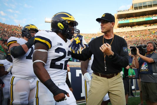 Jim Harbaugh, Karan Higdon