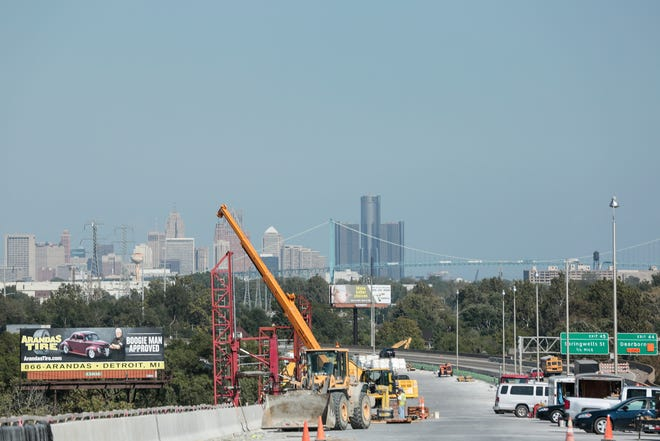 Looking at the skyline of Detroit from the top of  I-75 Rouge River bridge near Detroit, Tuesday, September 26, 2017.