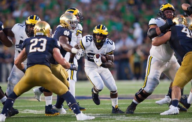 Michigan running back Karan Higdon (22) averaged 3.4 yards per carry in the opener against Notre Dame.