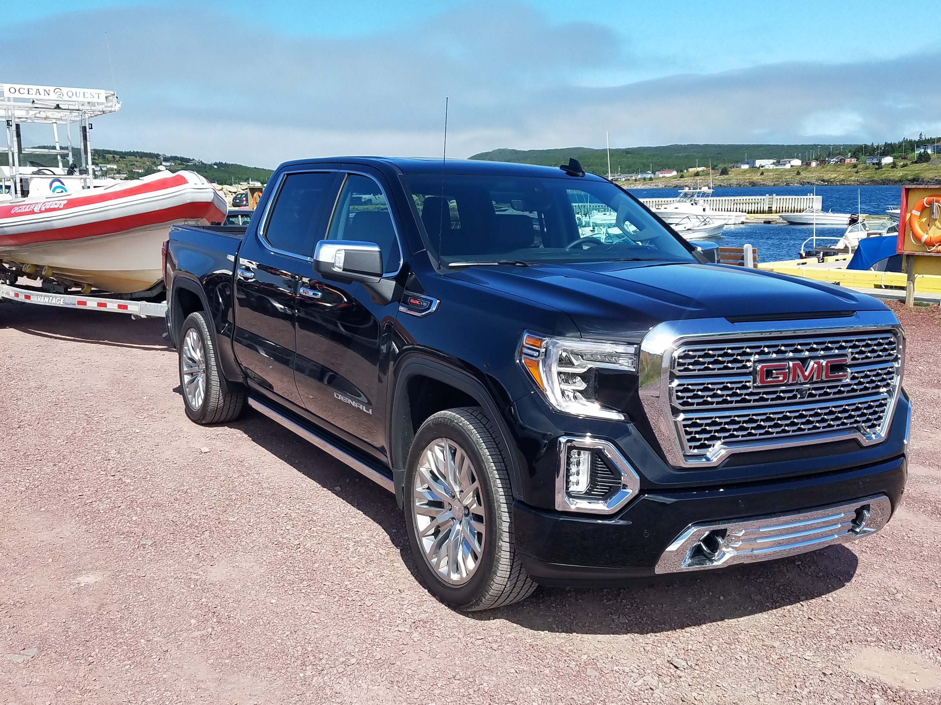 The 2019 GMC Sierra Denali is equipped for towing up to 12,100 pounds, with multiple cameras and sensors to guide the trailer, and an in-screen app to check trailer tire pressures.