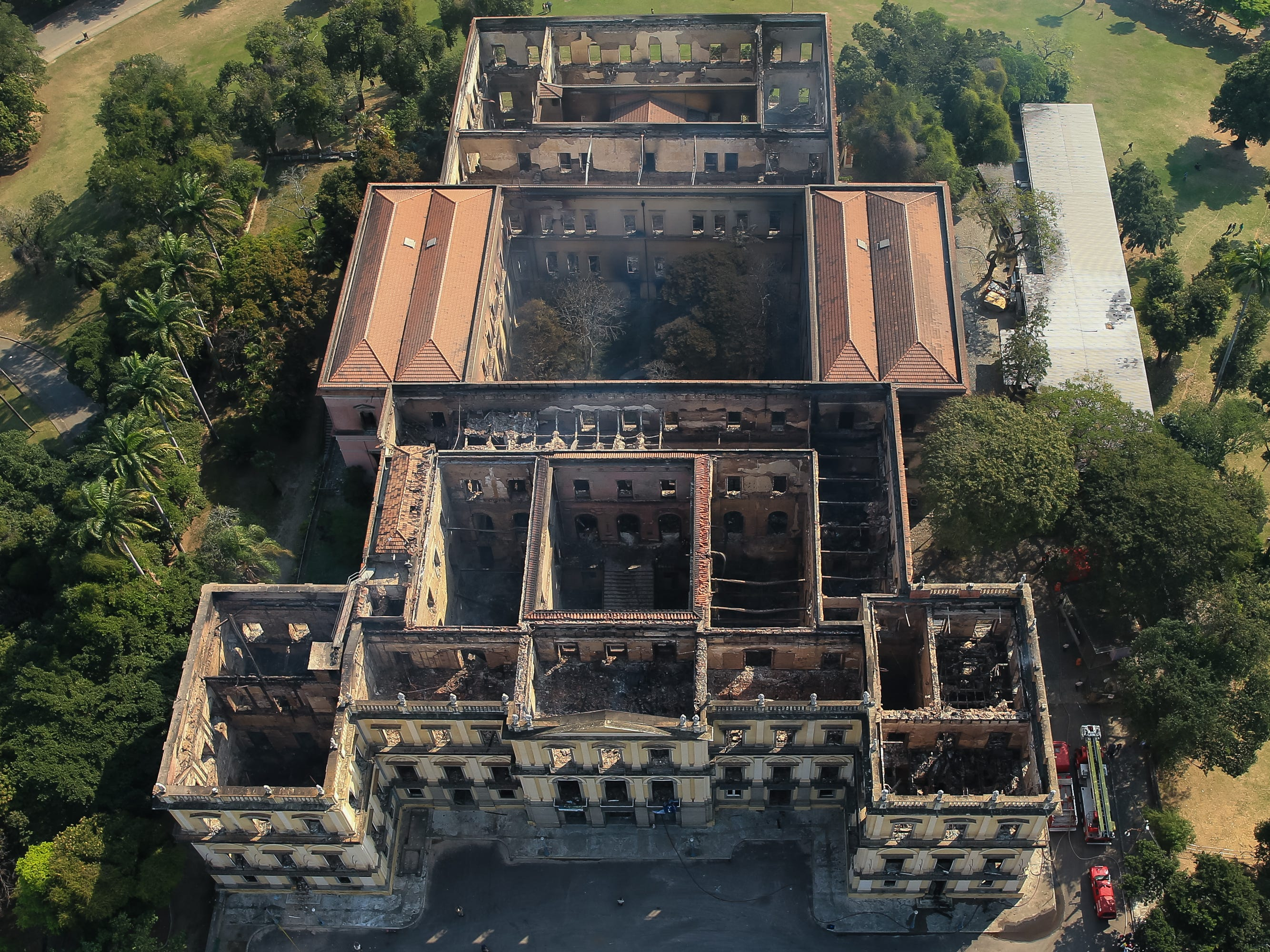 The National Museum of Brazil is seen after a devastating fire on September 3, 2018, in Rio de Janeiro, Brazil.