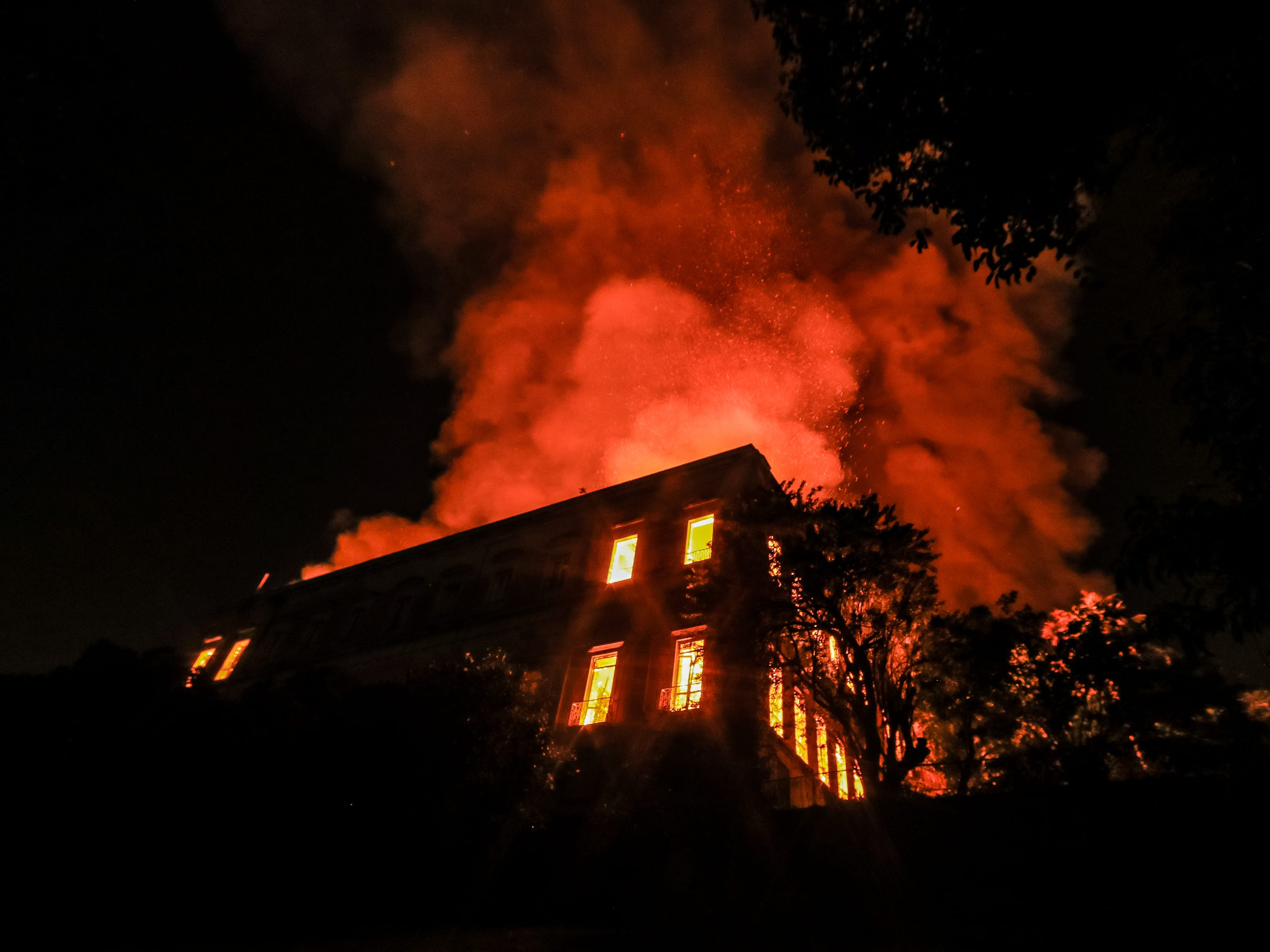 A fire burns at the National Museum of Brazil on September 2, 2018, in Rio de Janeiro, Brazil. Its collection includes more than 20 million items ranging from archaeological findings to historical memorabilia.