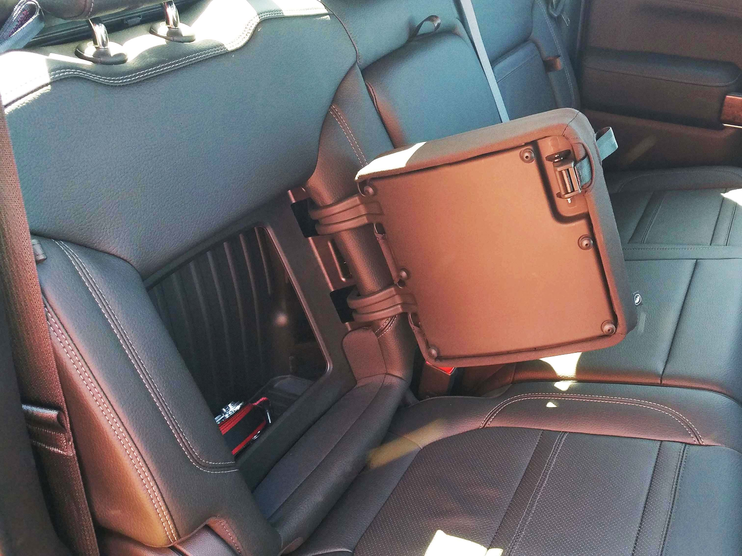 Like sibling Chevy Silverado, the 2019 GMC Sierra comes equipped with clever, rear seat-back storage. It will fit a computer tablet and other small items.