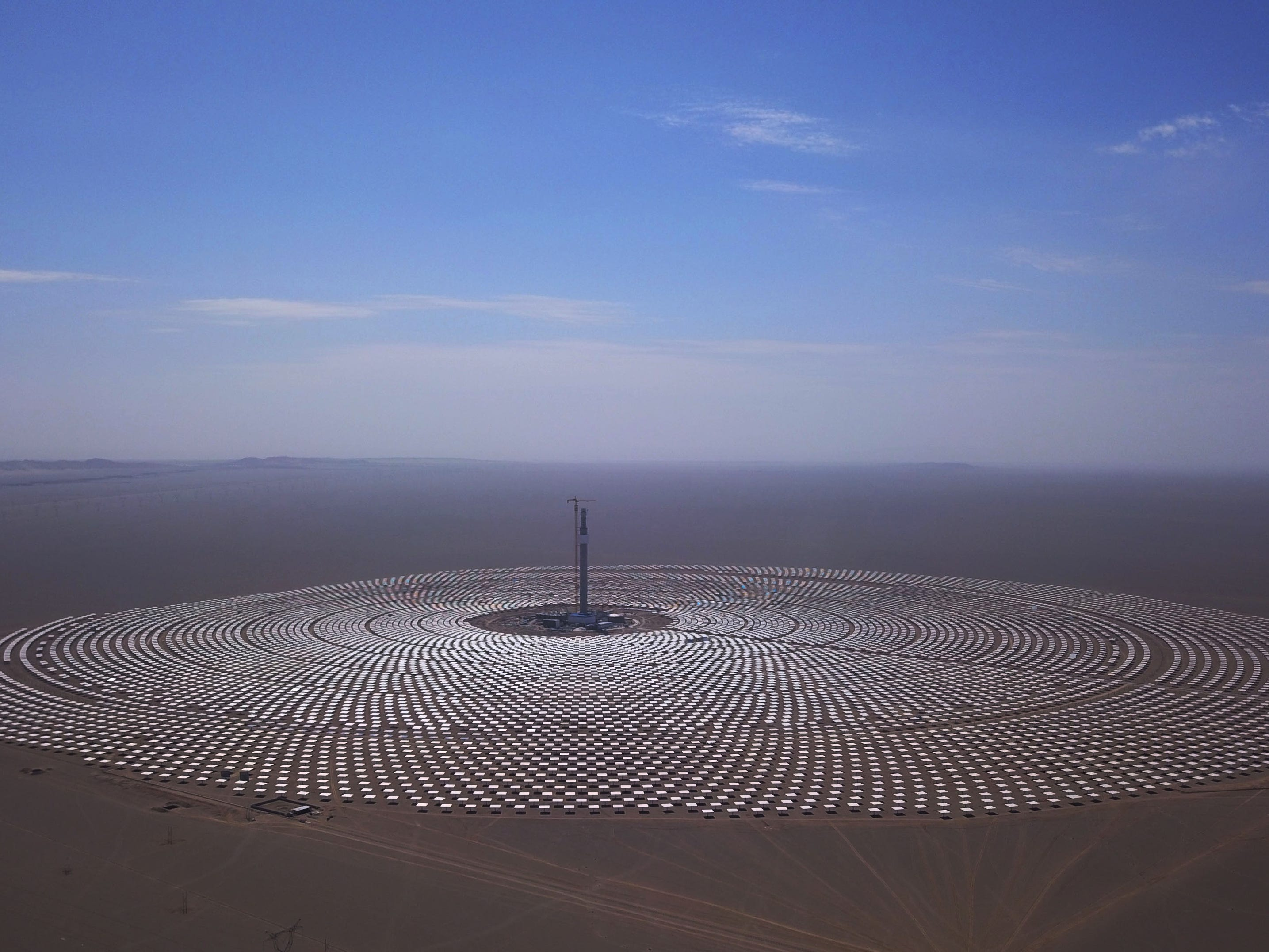 A view of the 100-megawatt molten-salt solar thermal power plant in Dunhuang in China's northwestern Gansu province.