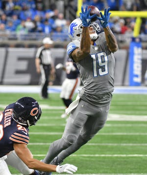 Lions receiver Kenny Golladay averaged 17 yards per catch as a rookie.