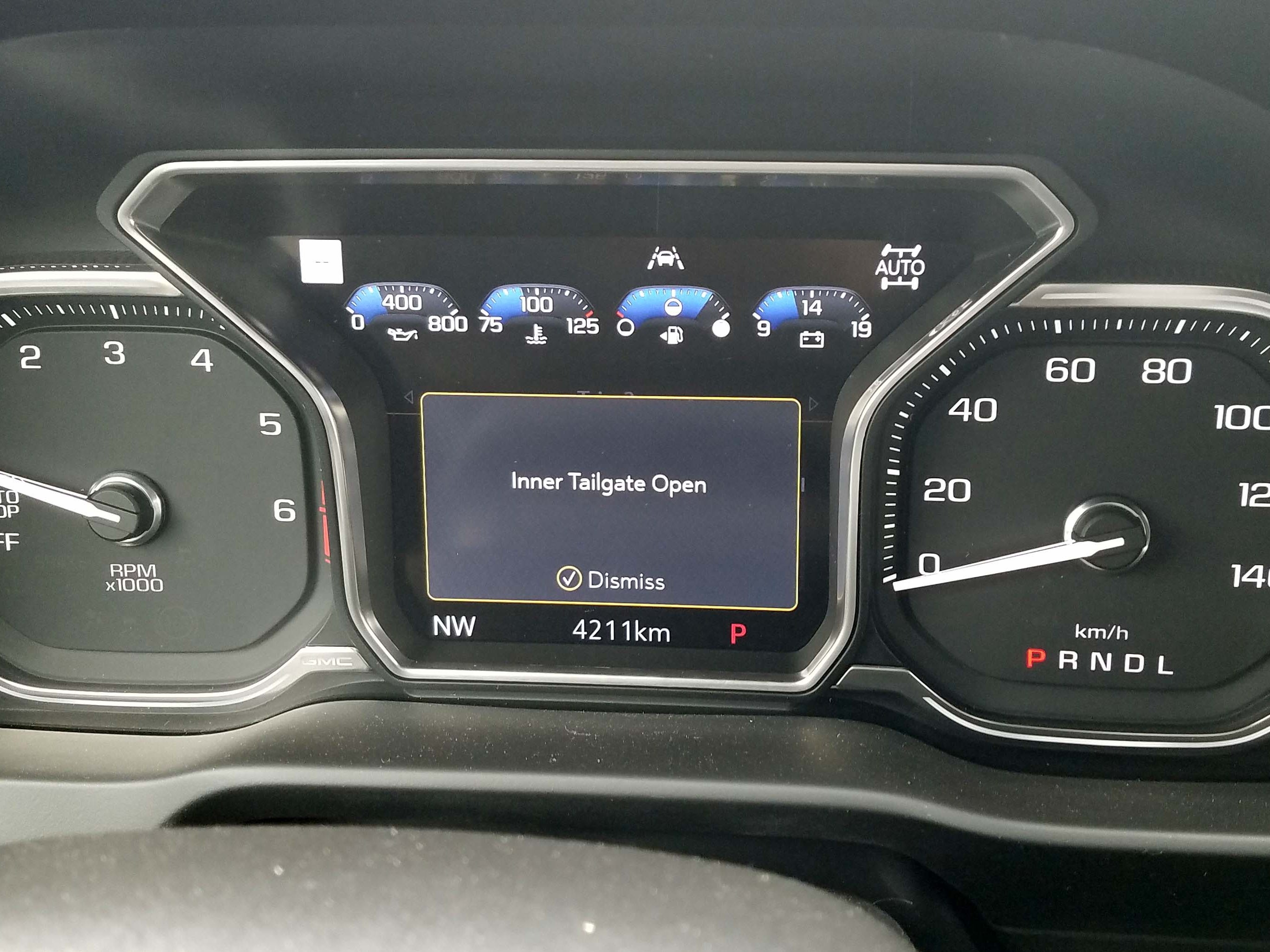 The digital center gauge on the 2019 GMC Sierra is configurable — and loaded with info.