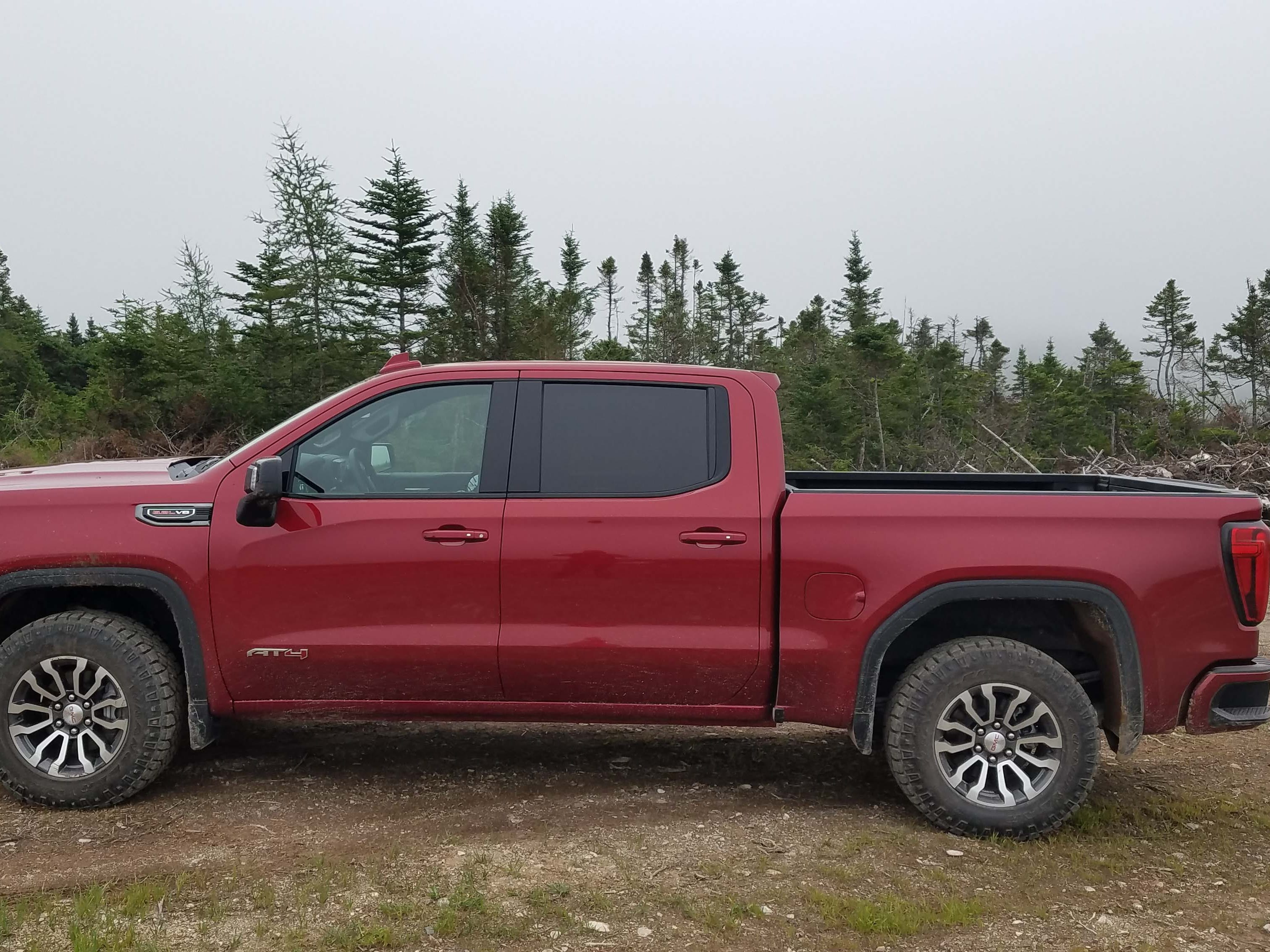 The 2019 GMC Sierra AT4 shows off the pickup's sleeker flanks — gone are the blocky fenders. The whole body is made of stiffer, lightweight steel (only the doors, hood and tailgate are made of aluminum) saving 380 pounds over the previous generation.