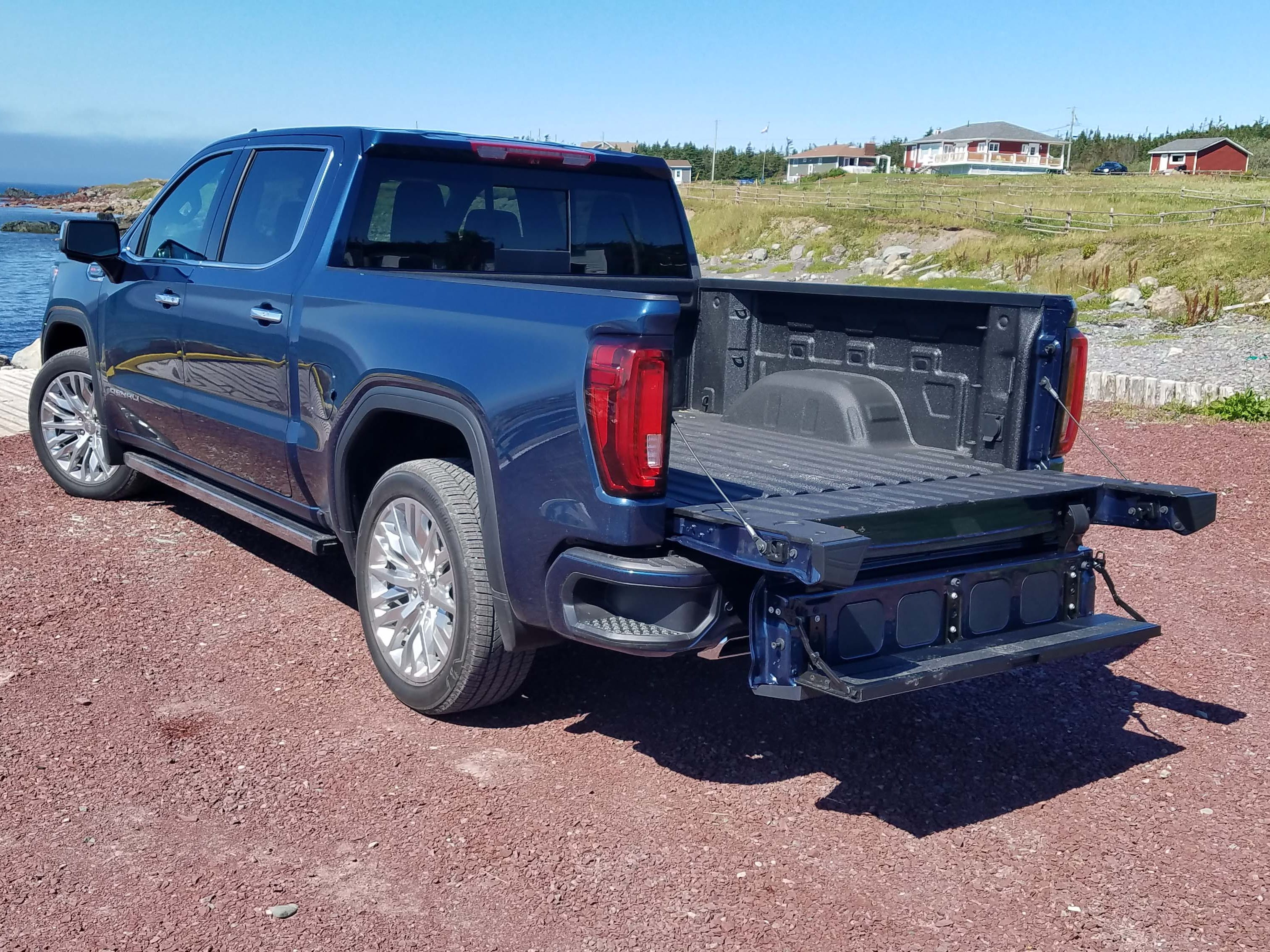The 2019 GMC Sierra features a Swiss Army knife tailgate that is configurable six ways. Pictured is the drop-step feature for better access to the bed.