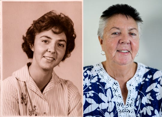 Left: A picture of Carole Davis when she was a student at Central High School. Right: Davis posing for a portrait in her home on the north side of Evansville, August 31, 2018. The 1961 graduate was a participant of the original Project Talent Survey, and recently took a follow up survey focused on Alzheimer's and dementia research.