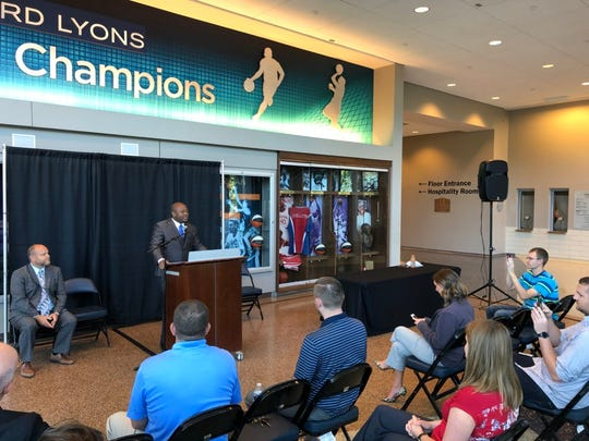 National Gridiron League president Joe McClendon III sheds light about the awarding of an arena football team to Evansville at a press conference Tuesday at Ford Center.