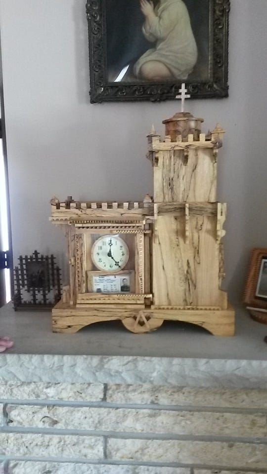 "Chuck ""Chaz"" Kuehn creates tramp style clocks to preserve the memory of loved ones. This clock was created for his father."