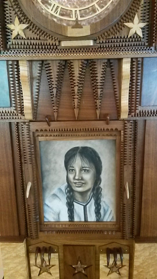 """The clock face includes a portrait of Trish. Chuck """"Chaz"""" Kuehn had a picture created by an artist here in Fond du Lac based off Trish's senior photo"""
