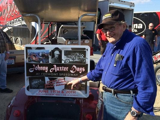 Johnny Auxter is all smiles as the Fremont Speedway Historical Club hosts the annual Johnny Auxter  Days event Sunday at the speedway track. A classic car show starts at noon, followed by an awards presentation at 3 p.m. and vintage car races at 4 p.m.