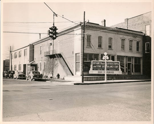 At the southwest corner of Water and Locust streets in 1950 was the Defiance Metal Weatherstrip Company and Star Sash Balance Corporation. Today it is the home of NAPA.