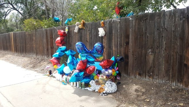 A memorial for Brycen Zerby, the 8-year-old who died in what is being described as an accident during the Windsor Harvest Festival parade Monday, has been built by the community near the intersection of 7th and Chestnut streets in Windsor.