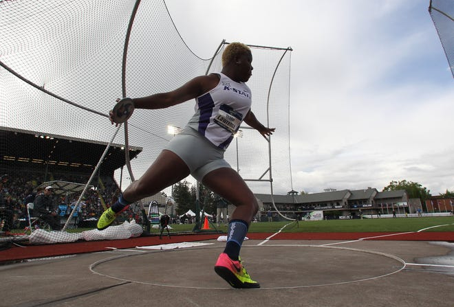 Shadae Lawrence competes in the women's discus at the 2017 NCAA Outdoor Track and Field Championships in Eugene, Ore. Lawrence, who has transferred to CSU for his final season of college eligibility, won the title and was the NCAA runner-up last year while competing for Kansas State.