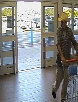 Cape Coral Police Department is searching for this cowboy, suspected in stealing two televisions and a grill from Walmart on Del Prado Boulevard South.