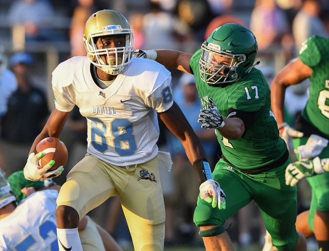 Brenton Benson (88) and the Daniel Lions are No. 10 in Class AAAA heading into Friday's home game against Westside.