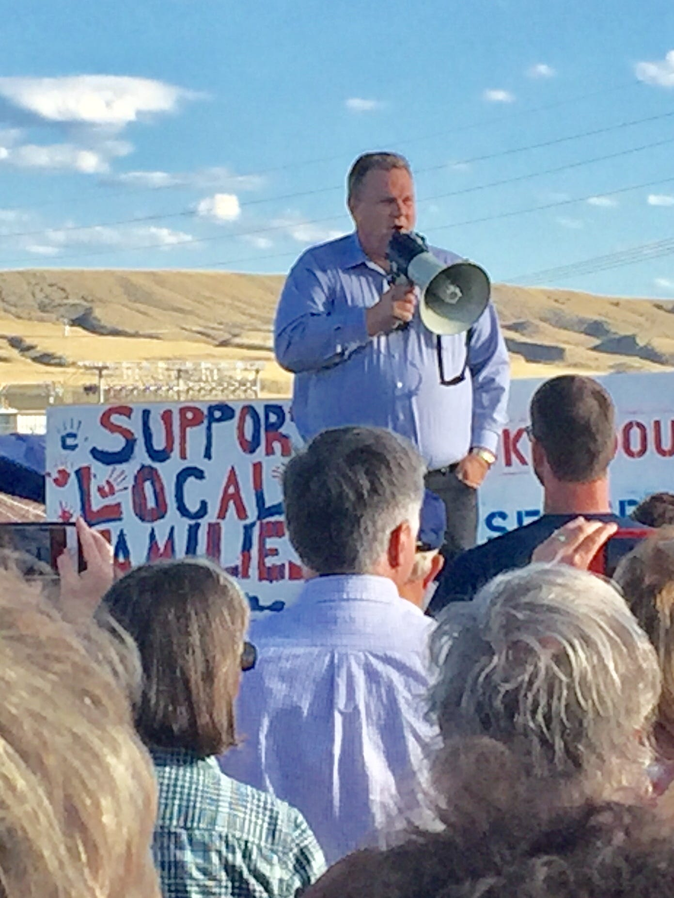 U.S. Sen. Jon Tester, D-Mont., supports workers on strike in Three Forks on Monday as part of Labor Day.
