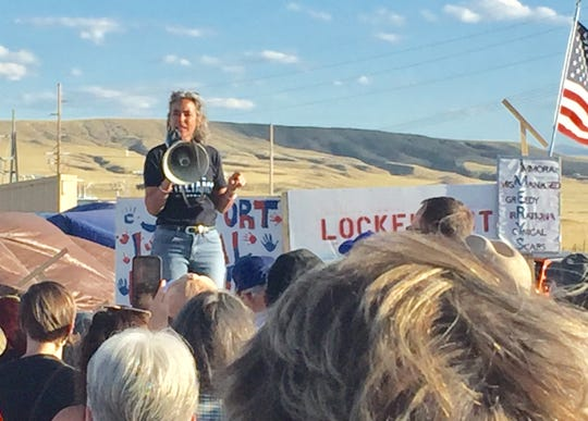Democrat Kathleen Williams, who is running against incumbent Rep. Greg Gianforte, R-Mont., speaks out on Monday in support of workers in Three Forks.