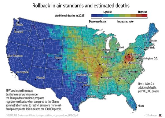 Map shows predicted impact of the roll back of Obama-era pollution controls on coal-fired power plants.; 3c x 4 1/2 inches; 146 mm x 114 mm;