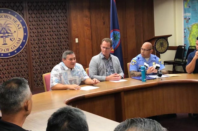 Gov. Eddie Calvo, Lt. Gov. Ray Tenorio and Guam Police Department Chief Joseph I. Cruz speak about what it means to designate Guam and High Intensity Drug Trafficking Area on Tuesday, Sept. 4, 2018 at Adelup.