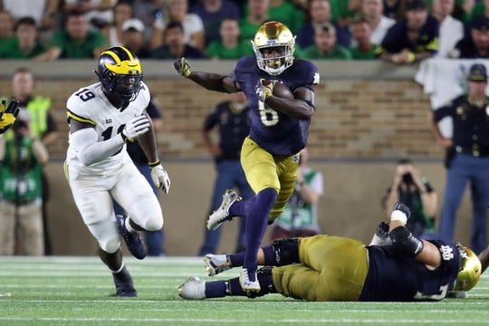 Notre Dame's Jafar Armstrong scored two touchdowns in his college debut against Michigan on Saturday.
