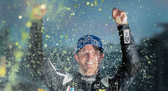 Monster Energy NASCAR Cup Series driver Kasey Kahne (5) celebrates winning the Brickyard 400 Sunday, July 23, 2017, at Indianapolis Motor Speedway.