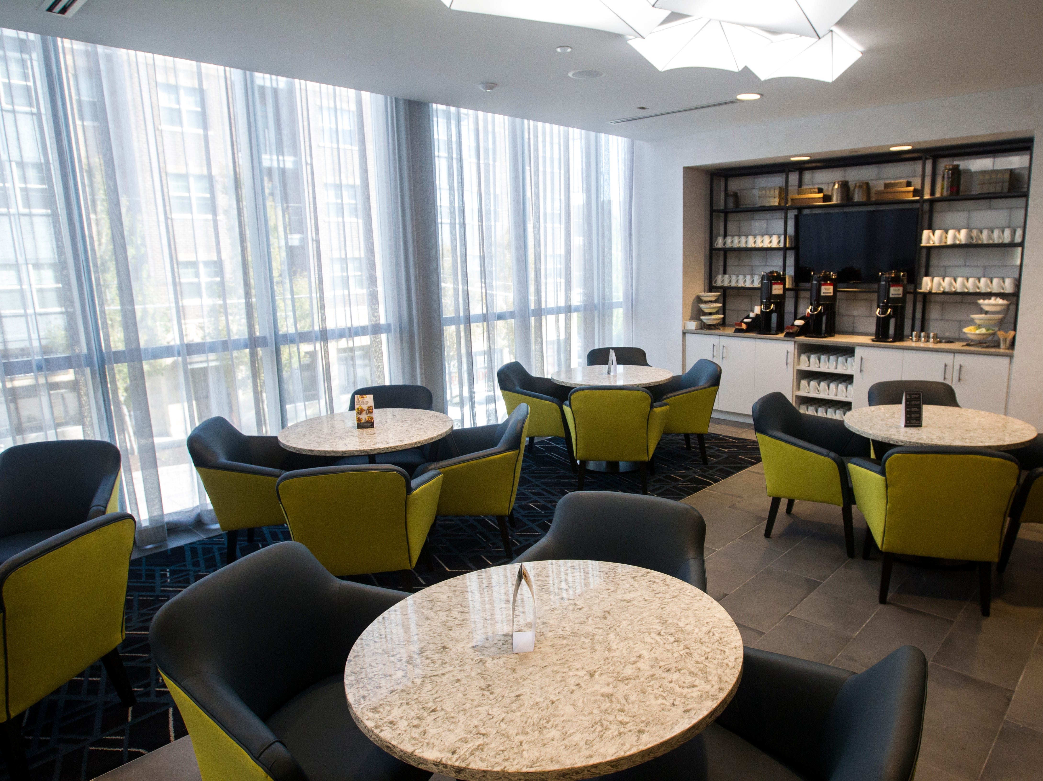 The second floor breakfast area is seen during a tour on Tuesday, Sept. 4, 2018, at Hyatt Place on the corner of Court and Linn Streets in downtown Iowa City.