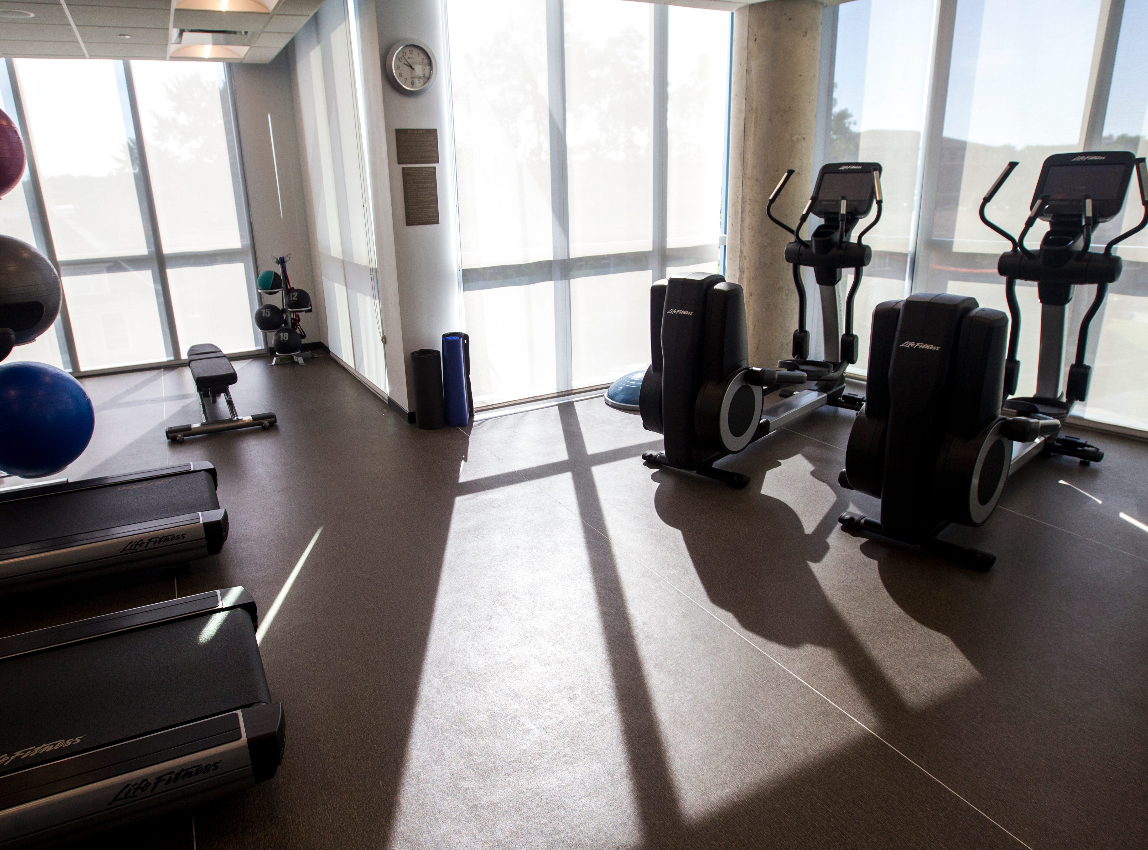 A workout area is seen during a tour on Tuesday, Sept. 4, 2018, at Hyatt Place on the corner of Court and Linn Streets in downtown Iowa City.