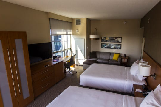 A 10th floor queen double room is seen during a tour on Tuesday, Sept. 4, 2018, at Hyatt Place on the corner of Court and Linn Streets in downtown Iowa City.