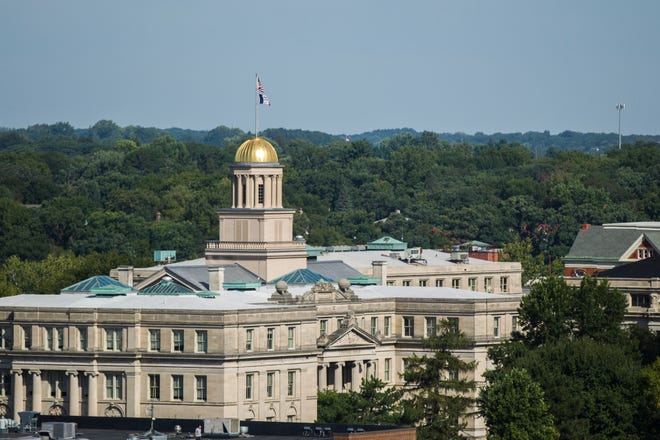 The Old Capitol building is seen on the Pentacrest behind Schaeffer Hall from the 10th floor of Hyatt Place on Tuesday, Sept. 4, 2018, in Iowa City.