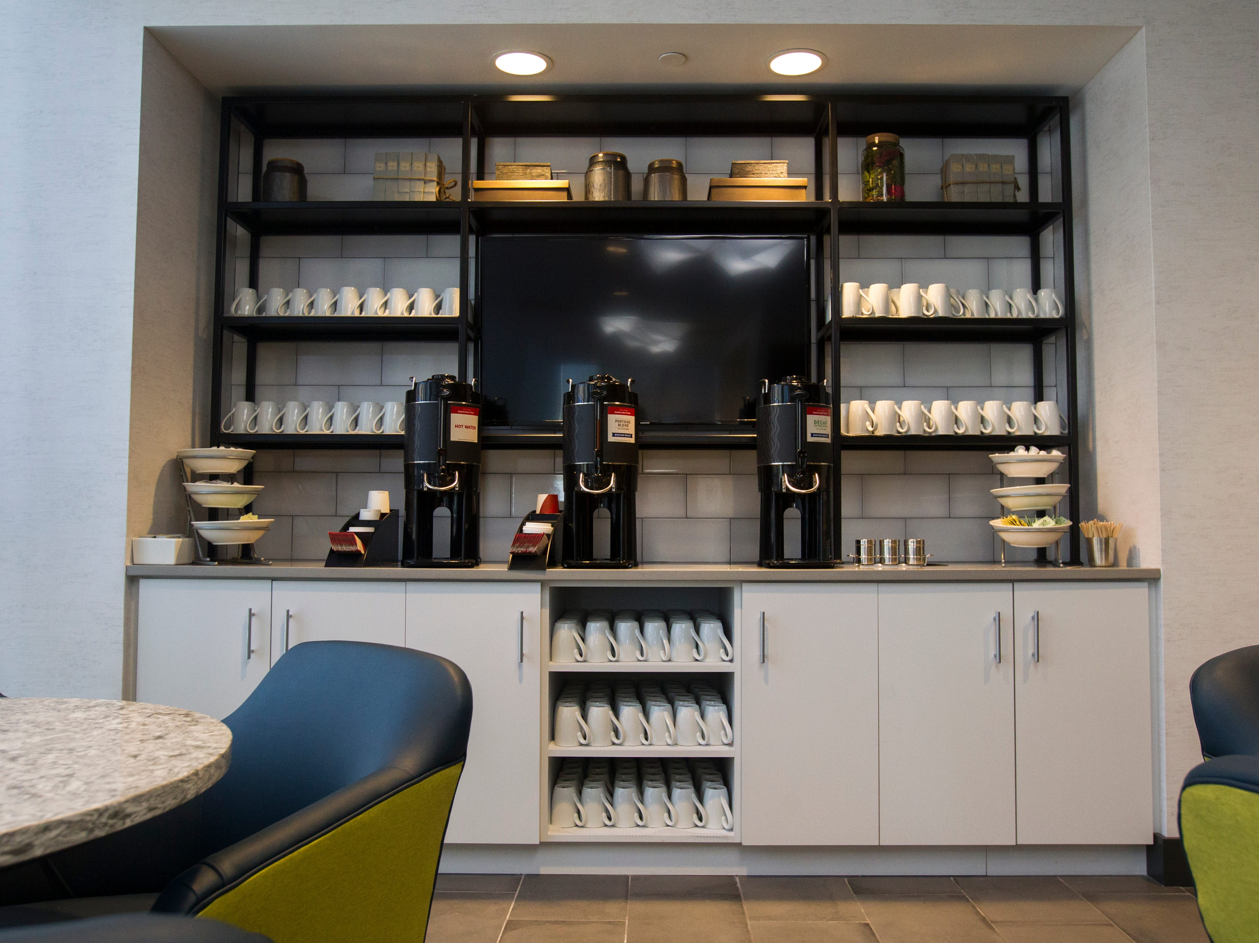 A coffee station is seen in the second floor breakfast area during a tour on Tuesday, Sept. 4, 2018, at Hyatt Place on the corner of Court and Linn Streets in downtown Iowa City.