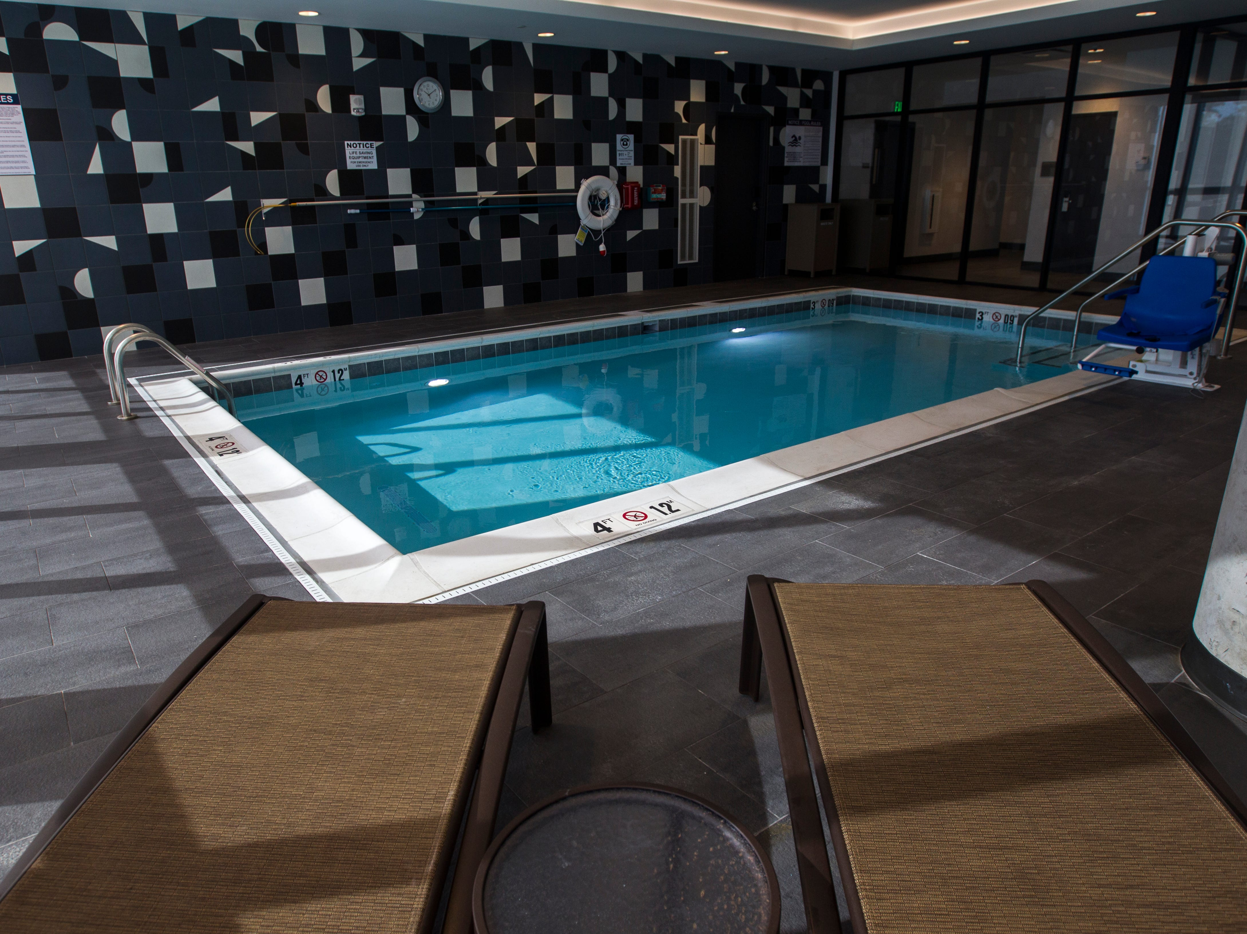 A second floor swimming pool is seen during a tour on Tuesday, Sept. 4, 2018, at Hyatt Place on the corner of Court and Linn Streets in downtown Iowa City.