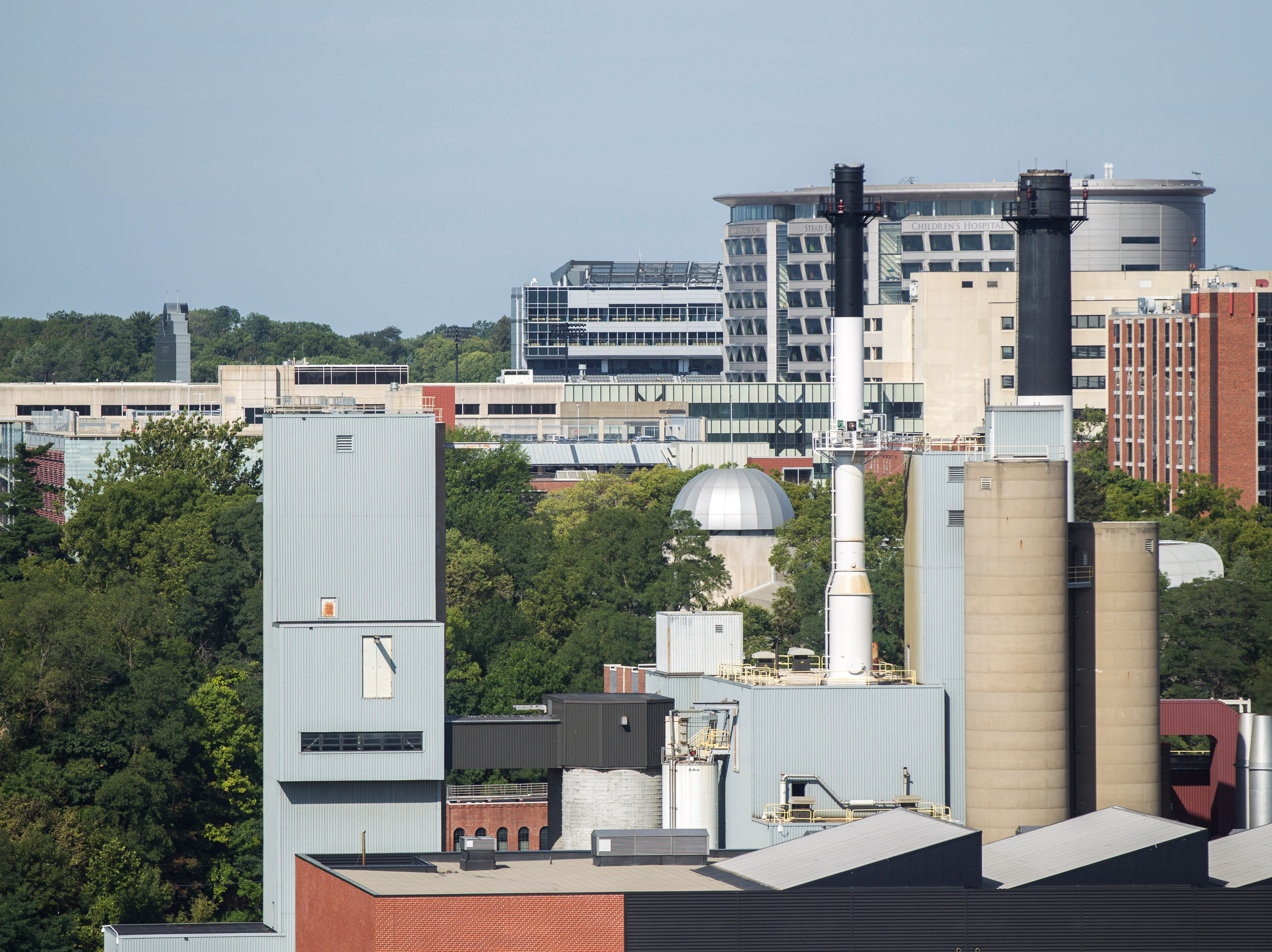 The University of Iowa Stead Family Children's Hospital and Kinnick Stadium are seen from the 12th floor of Hyatt Place on Tuesday, Sept. 4, 2018, in Iowa City.
