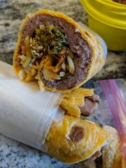 A barbecued beef wrap made by Michael Knock.