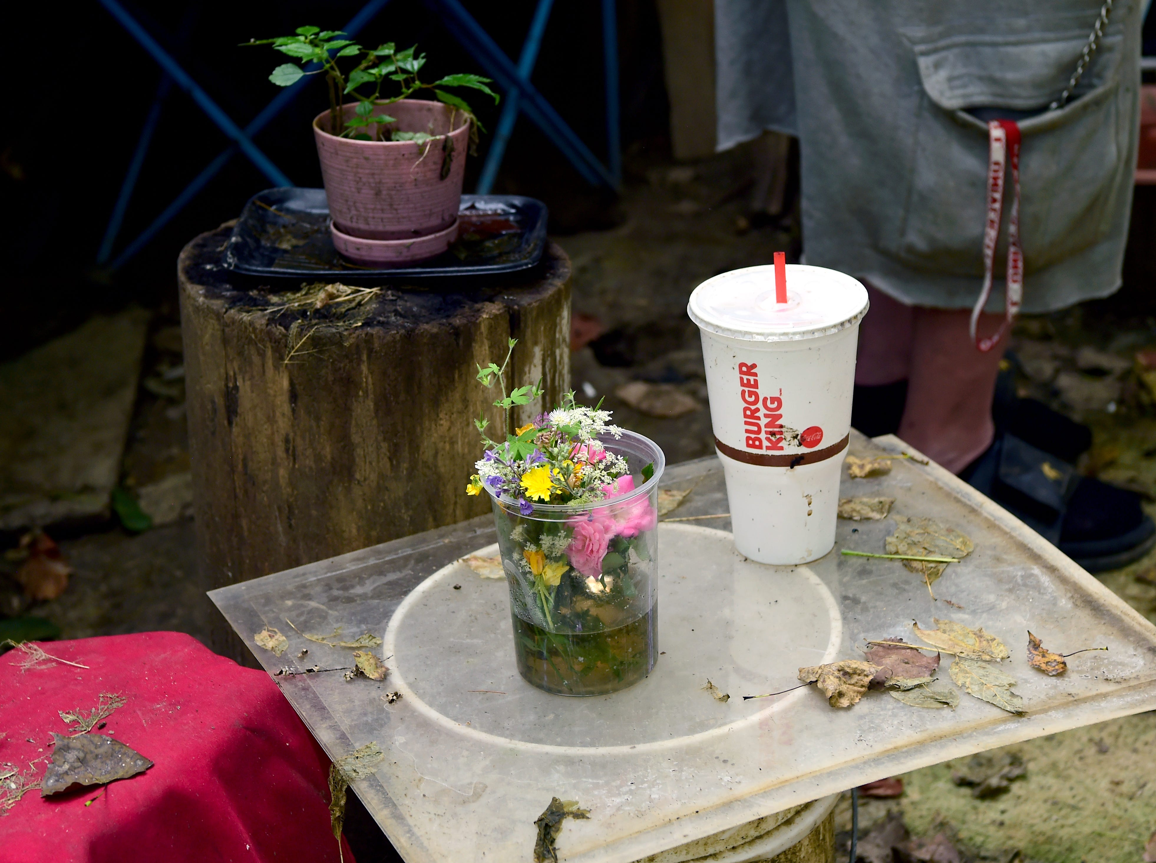 """Belongs of a homeless person in Ithaca's """"Jungle."""" Many residents of The Jungle take pride in their residences by decorating them and attempting to keep them clean, despite the circumstances."""
