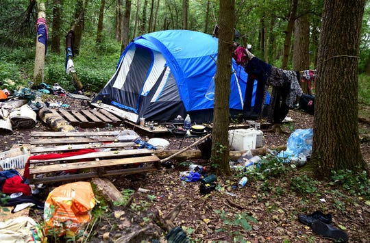 An encampment in The Jungle in Ithaca, August 31, 2018. Located behind the shopping centers along Rt. 13, The Jungle is home to dozens of homeless people who live in tents and makeshift shacks.