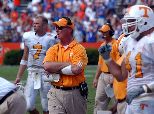 In this 2003 photo, then-Tennessee offensive coordinator Randy Sanders reacts to a play on the field during the Vols' game against Florida in Gainesville. Tennessee beat the Florida Gators 24-10.