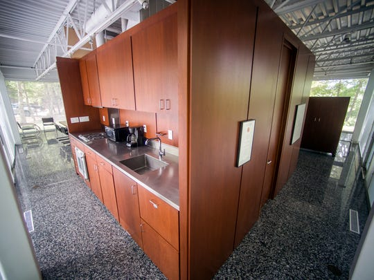 Inside the 1,600 square foot glass box home built by the late William Starke Shell. A longtime University of Tennessee architecture professor, Shell built his dream house with clean lines, transparent materials and minimal furniture in the modernism style.