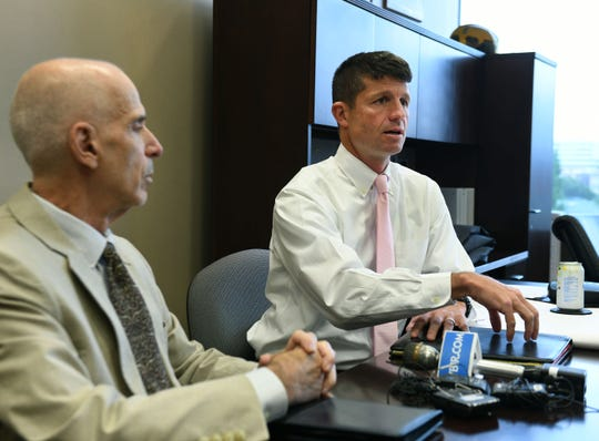 Bill Lyons, left, and David Brace, with the city of Knoxville, announced Tuesday, September 4, 2018 they are in talks with Tennova to possibly purchase the soon to be abandoned St. Mary's site for their planned KPD/KFD/City Court headquarters.