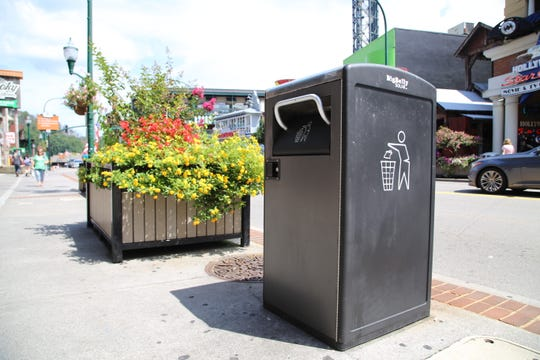 """The city of Gatlinburg is adding 22 bear-proof, """"smart"""" trash cans to the Gatlinburg Parkway through a five-year leasing contract with BigBelly Solar, Inc. The total cost for the trash cans is $138,960."""